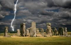 Stonehenge View With Lightning in Wiltshire, England